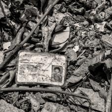 Carné estudiantil en las ruinas de la escuela