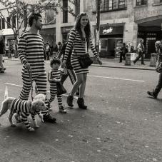 Familia con mascota disfrazados en Halloween, 2013
